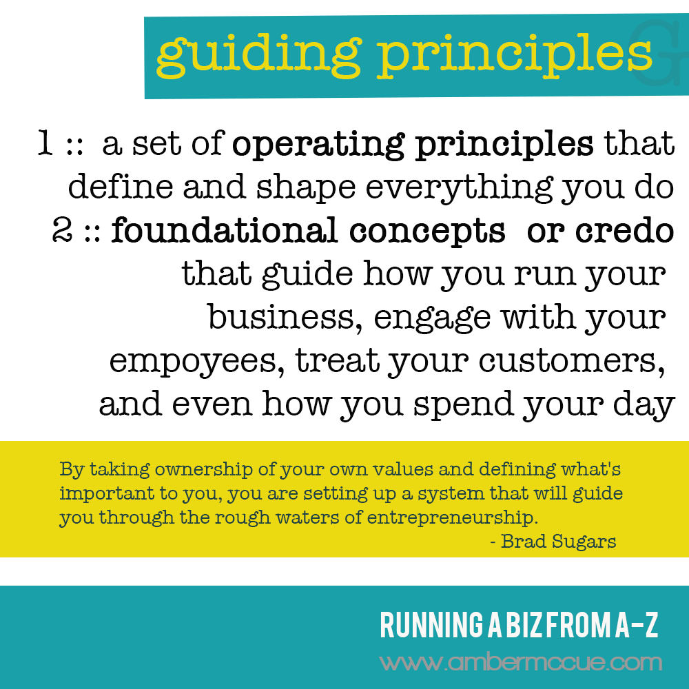 G. Guiding Principles – Running Biz from A to Z