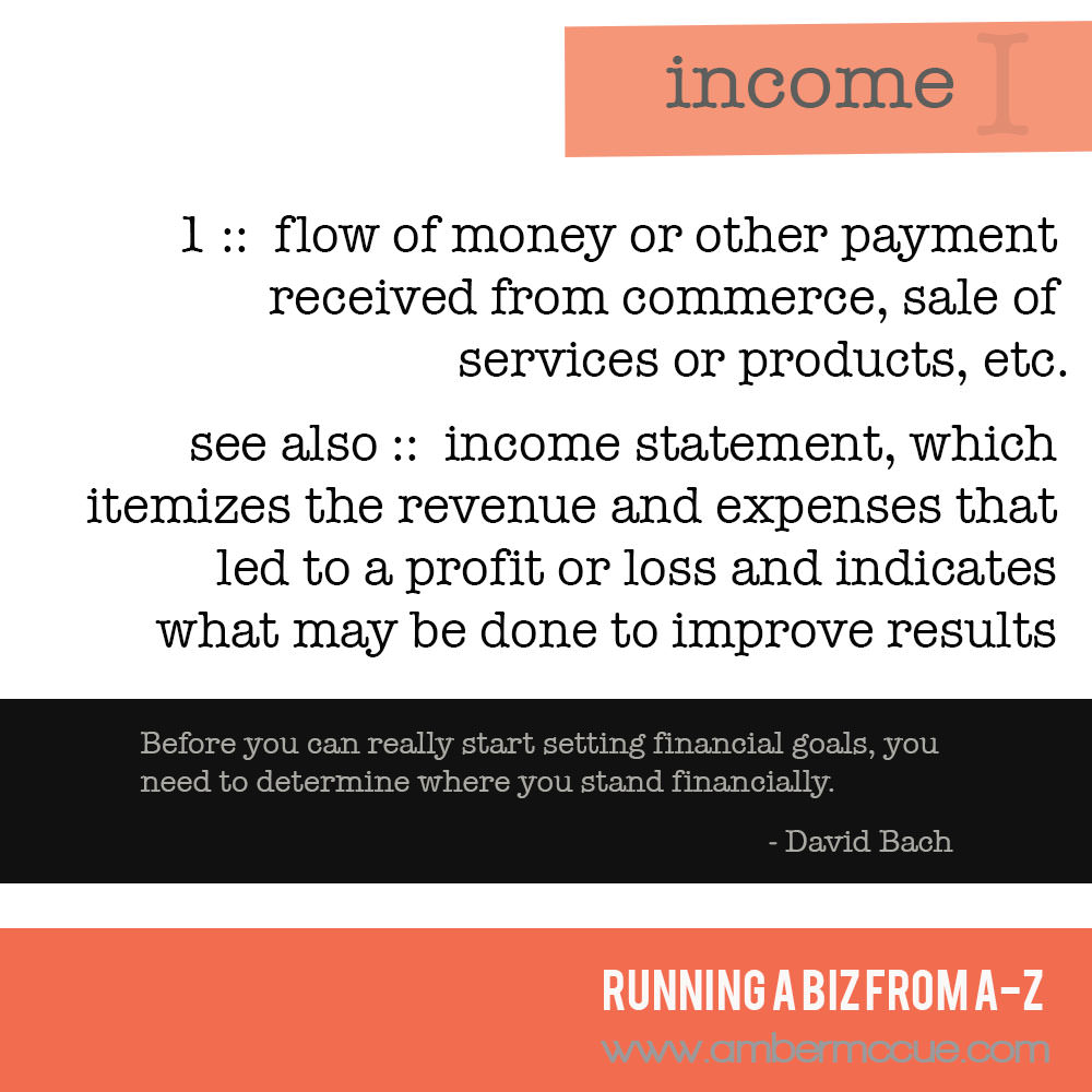 I. Income – Running Biz from A to Z