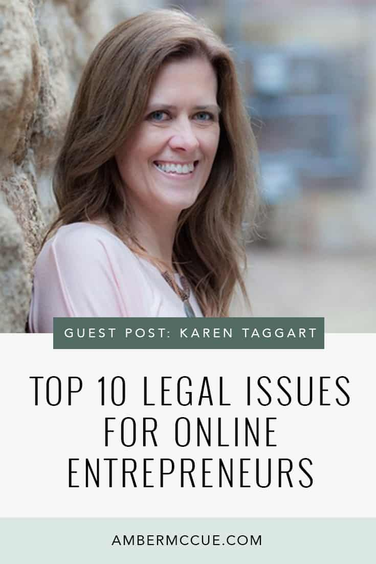 If you're an online entrepreneur, bookmark this link for the top 10 legal issues you need to know!